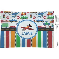 Transportation & Stripes Glass Rectangular Appetizer / Dessert Plate - Single or Set (Personalized)