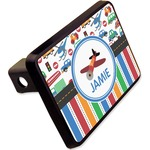 """Transportation & Stripes Rectangular Trailer Hitch Cover - 2"""" (Personalized)"""