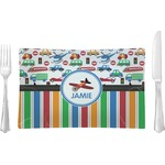 Transportation & Stripes Glass Rectangular Lunch / Dinner Plate - Single or Set (Personalized)