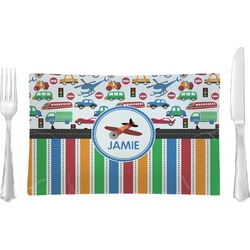 Transportation & Stripes Rectangular Glass Lunch / Dinner Plate - Single or Set (Personalized)