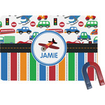 Transportation & Stripes Rectangular Fridge Magnet (Personalized)