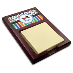 Transportation & Stripes Red Mahogany Sticky Note Holder (Personalized)