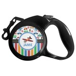 Transportation & Stripes Retractable Dog Leash (Personalized)