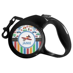 Transportation & Stripes Retractable Dog Leash - Multiple Sizes (Personalized)