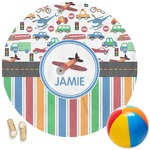 Transportation & Stripes Round Beach Towel (Personalized)