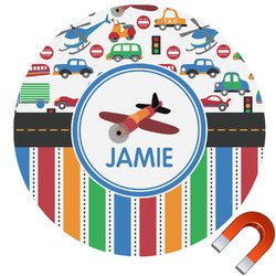 Transportation & Stripes Round Car Magnet (Personalized)