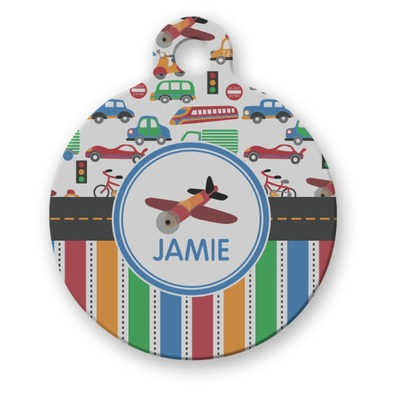 Transportation & Stripes Round Pet Tag (Personalized)