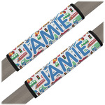Transportation & Stripes Seat Belt Covers (Set of 2) (Personalized)