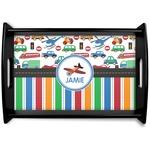 Transportation & Stripes Black Wooden Tray (Personalized)