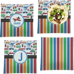 """Transportation & Stripes Set of 4 Glass Square Lunch / Dinner Plate 9.5"""" (Personalized)"""