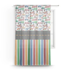 Transportation & Stripes Sheer Curtains (Personalized)