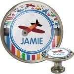 Transportation & Stripes Cabinet Knob (Silver) (Personalized)