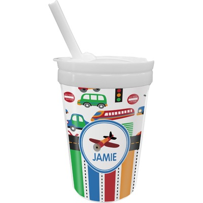 Transportation & Stripes Sippy Cup with Straw (Personalized)