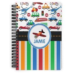 Transportation & Stripes Spiral Bound Notebook (Personalized)