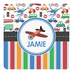 Transportation & Stripes Square Decal - Custom Size (Personalized)