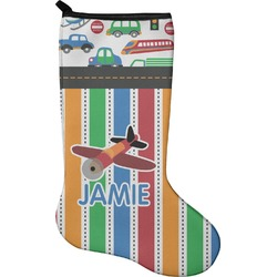 Transportation & Stripes Christmas Stocking - Neoprene (Personalized)