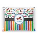 Transportation & Stripes Rectangular Throw Pillow (Personalized)