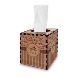 Transportation & Stripes Wooden Tissue Box Cover - Square (Personalized)
