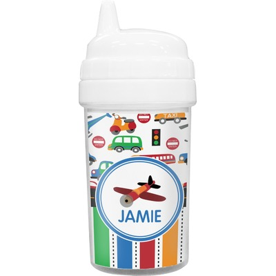 Transportation & Stripes Toddler Sippy Cup (Personalized)