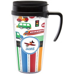 Transportation & Stripes Travel Mug with Handle (Personalized)