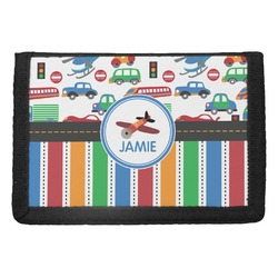 Transportation & Stripes Trifold Wallet (Personalized)
