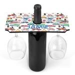 Transportation & Stripes Wine Bottle & Glass Holder (Personalized)