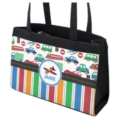 Transportation & Stripes Zippered Everyday Tote (Personalized)