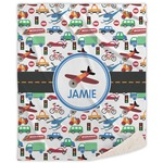 Transportation Sherpa Throw Blanket (Personalized)