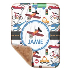 "Transportation Sherpa Baby Blanket 30"" x 40"" (Personalized)"
