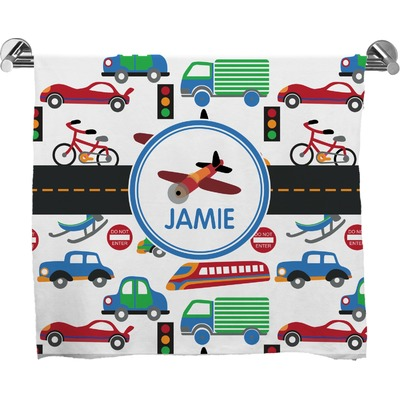 Transportation Full Print Bath Towel (Personalized)
