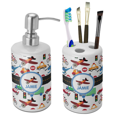 Transportation Bathroom Accessories Set (Ceramic) (Personalized)