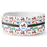 Transportation Ceramic Dog Bowl (Personalized)