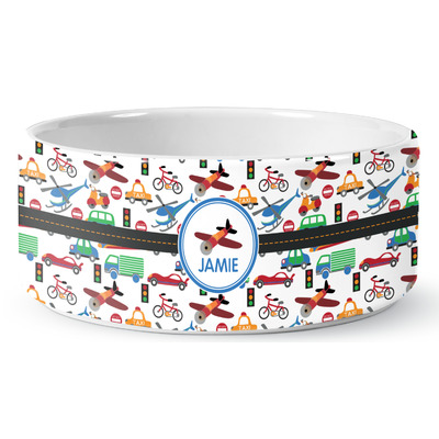 Transportation Ceramic Pet Bowl (Personalized)