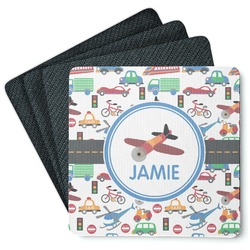 Transportation Square Rubber Backed Coasters - Set of 4 (Personalized)