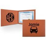 Transportation Leatherette Certificate Holder (Personalized)