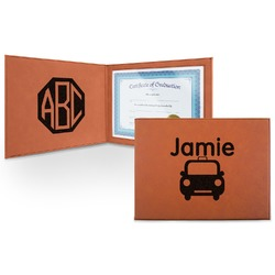Transportation Leatherette Certificate Holder (Personalized)