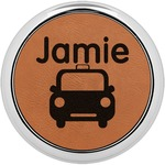 Transportation Leatherette Round Coaster w/ Silver Edge (Personalized)