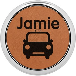 Transportation Leatherette Round Coaster w/ Silver Edge - Single or Set (Personalized)