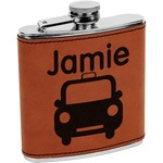 Transportation Leatherette Wrapped Stainless Steel Flask (Personalized)