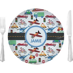 "Transportation Glass Lunch / Dinner Plates 10"" - Single or Set (Personalized)"