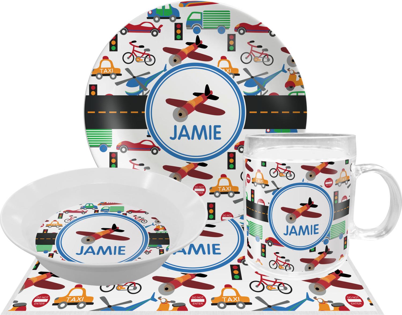 Transportation Melamine Plate (Personalized) Transportation Dinner Set - 4 Pc (Personalized) ...  sc 1 st  YouCustomizeIt & Transportation Melamine Plate (Personalized) - YouCustomizeIt