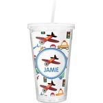 Transportation Double Wall Tumbler with Straw (Personalized)