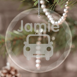 Transportation Engraved Glass Ornament (Personalized)