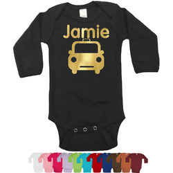 Transportation Foil Bodysuit - Long Sleeves - 6-12 months - Gold, Silver or Rose Gold (Personalized)