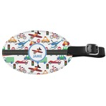 Transportation Genuine Leather Oval Luggage Tag (Personalized)