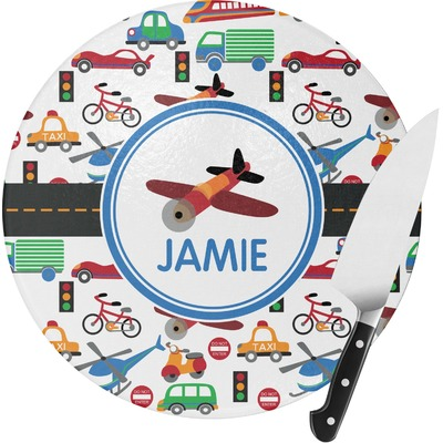 Transportation Round Glass Cutting Board (Personalized)