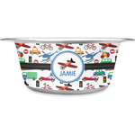 Transportation Stainless Steel Dog Bowl (Personalized)