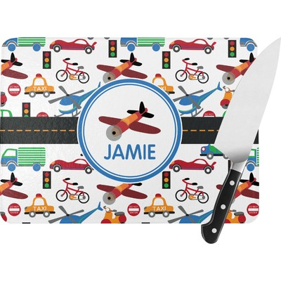 Transportation Rectangular Glass Cutting Board (Personalized)