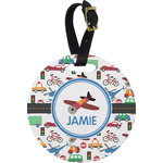 Transportation Round Luggage Tag (Personalized)