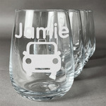 Transportation Stemless Wine Glasses (Set of 4) (Personalized)